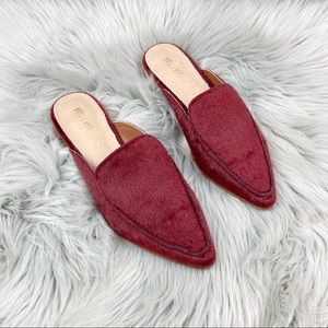 NEW Mi.im Faux Calf Hide Pointed Mules Red